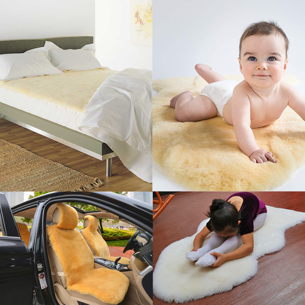 Sheepskin used as seat cushion, mattress topper and yoga mat